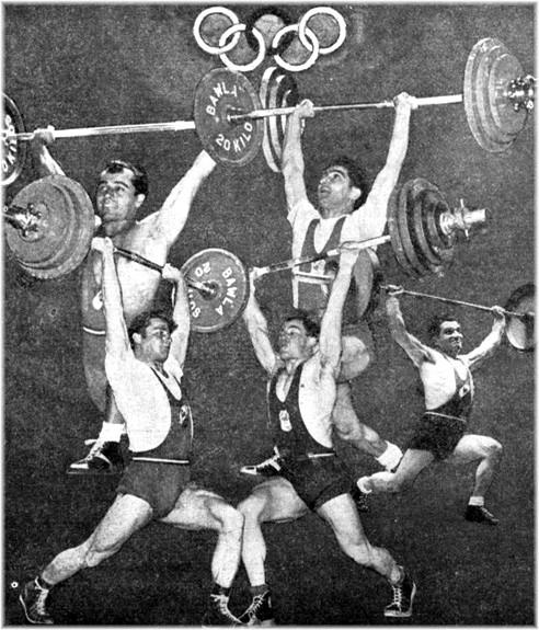 Les cinq sélectionnés Olympiques Français en 1952, Georges Firmin, Max Héral, Jean Debuf, André Dochy et Marcel Thévenet.